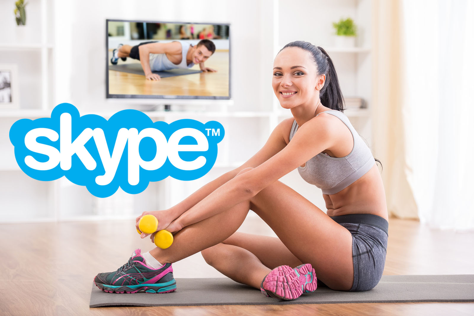 Coach sportif en ligne en visio conférence avec le logiciel Skype